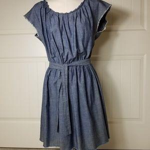 Lauren Conrad Chambray Fray Hem Midi Dress L